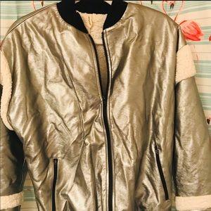 LANSTON Silver Faux Leather Fleece Jacket XS/S NEW